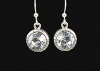 Beaucoup Designs Aimez Birthstone Earrings, Silver - Crystal