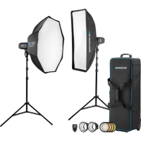 Westcott FJ400 Strobe 2-Light Location Kit with FJ-X2m Universal Wireless Trigger and Rapid Box Switch Octa-M and 1x3