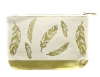 Lucky Feather Gold Feathers Canvas Zipper Bag